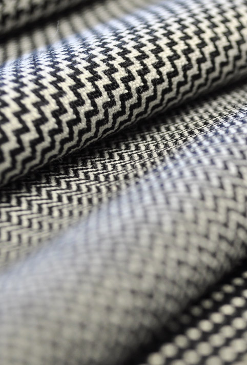 Fabrics in cotton, silk and wool